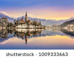 lake bled with st. marys church ... | Shutterstock . vector #1009333663