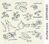 spices doodles vector set | Shutterstock .eps vector #100934833