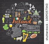 ireland sketch doodles. hand... | Shutterstock .eps vector #1009357543