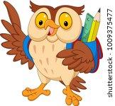 cartoon owl with backpack | Shutterstock .eps vector #1009375477