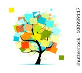 art tree with stickers for your ... | Shutterstock .eps vector #100939117