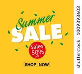 banner summer sale 50  off shop ... | Shutterstock .eps vector #1009393603