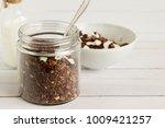 cocoa flavored homemade granola ... | Shutterstock . vector #1009421257