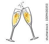 two sparkling glasses of... | Shutterstock .eps vector #1009430353