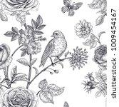 garden flowers roses  peonies... | Shutterstock .eps vector #1009454167