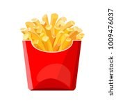 french fries in a red bag. fast ... | Shutterstock .eps vector #1009476037