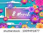 origami spring banner. paper... | Shutterstock .eps vector #1009491877