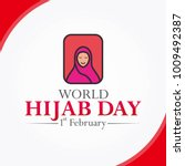 world hijab day square vector... | Shutterstock .eps vector #1009492387