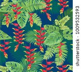 tropical seamless pattern with... | Shutterstock .eps vector #1009532593