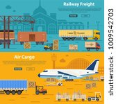 railway freight and air cargo... | Shutterstock . vector #1009542703