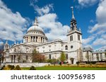 St. Paul Cathedral with garden in London England United Kingdom - stock photo