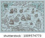 old map of the caribbean sea... | Shutterstock .eps vector #1009574773