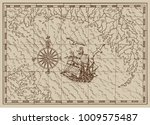 pirate treasure map with old... | Shutterstock .eps vector #1009575487