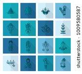 diwali. indian festival icons.... | Shutterstock .eps vector #1009580587