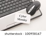 Cyber Monday Note with Mouse and Computer - stock photo