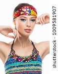 beautiful woman with fashion... | Shutterstock . vector #1009581907