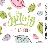 spring is coming lettering on... | Shutterstock .eps vector #1009590823