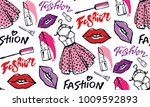 hand drawn doodle fashion... | Shutterstock .eps vector #1009592893