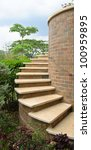 outdoor spiral stair - stock photo