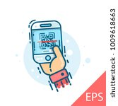 scan qr code to mobile phone.... | Shutterstock .eps vector #1009618663