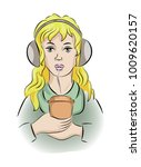 a girl with headphones and... | Shutterstock .eps vector #1009620157