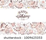 happy birthday greeting card.... | Shutterstock .eps vector #1009625353