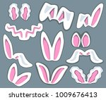 huge set with different rebbit... | Shutterstock .eps vector #1009676413