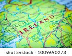 ireland on a map of europe | Shutterstock . vector #1009690273