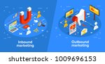 inbound and outbound marketing... | Shutterstock .eps vector #1009696153