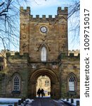 Small photo of DURHAM, COUNTY DURHAM/UK - JANUARY 19 : View of the Castle entrance in Durham, County Durham on January 19, 2018. Unidentified people