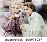 two women sitting together and... | Shutterstock . vector #100976287