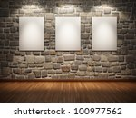 Blank frame on stone wall illuminated spotlights - stock photo