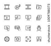 line icon set of video...