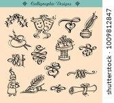 huge pack or set engraved hand... | Shutterstock .eps vector #1009812847