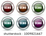 demo vector icon set. silver...