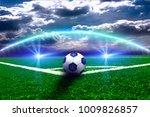 soccer ball on the green field  | Shutterstock . vector #1009826857
