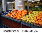 counter with fruit in market | Shutterstock . vector #1009831957
