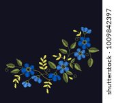 floral embroidery set with blue ... | Shutterstock .eps vector #1009842397
