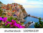 Village of Manarola, on the Cinque Terre coast of Italy with flowers - stock photo