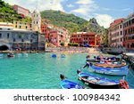Colorful harbor at Vernazza, Cinque Terre, Italy - stock photo