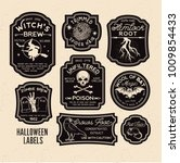 halloween bottle labels  ... | Shutterstock .eps vector #1009854433