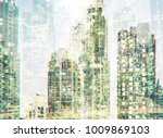 cityscape and forest in double... | Shutterstock . vector #1009869103