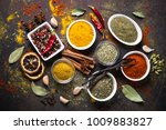 set of various spices and... | Shutterstock . vector #1009883827