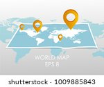world map with pin pointers.... | Shutterstock .eps vector #1009885843