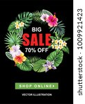 tropical sale poster with palm... | Shutterstock .eps vector #1009921423