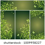 vintage floral green banners | Shutterstock .eps vector #1009958227