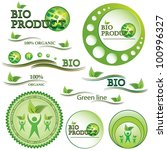 set of green bio and organic... | Shutterstock . vector #100996327