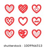 hand drawn doodle hearts...   Shutterstock .eps vector #1009966513