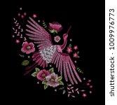 crane bird  flowers  rose  rose