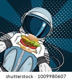 astronaut with fast food... | Shutterstock .eps vector #1009980607